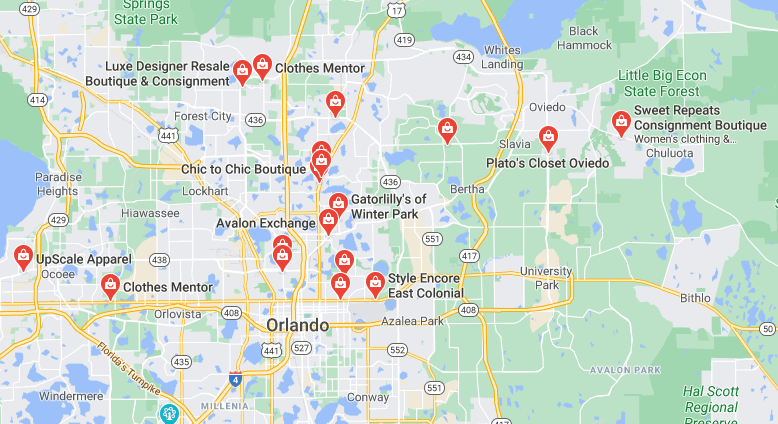 Google map of clothing consignment stores near me