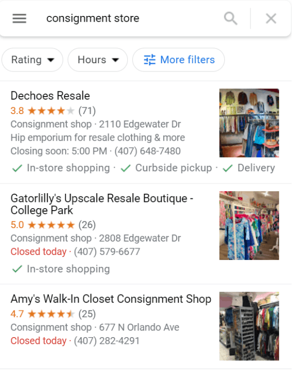 screenshot of local consignment stores on Google map
