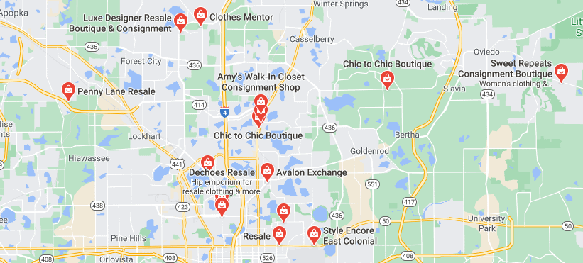 Google map of consignment stores near me