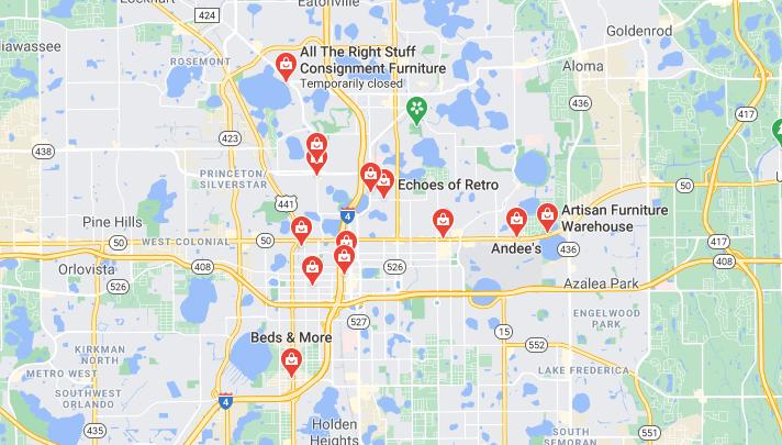 Google map of furniture resale shops near me