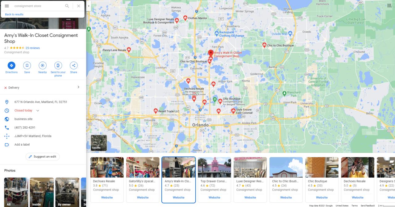 screenshot overview of resale shops near me